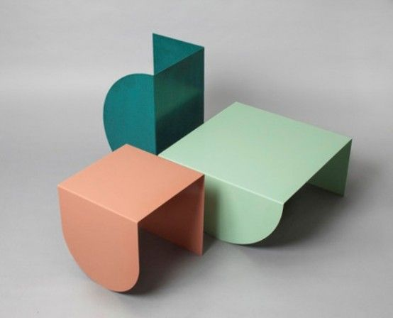 Whimsy 3LEGS Table Collection Of Steel Sheets   DigsDigs