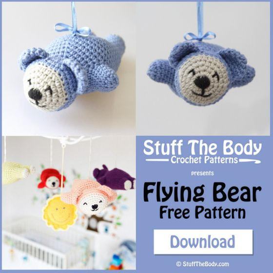 Amigurumi Baby Mobile Pattern : Flying Bear Free Crochet Amigurumi Pattern Shower gifts ...
