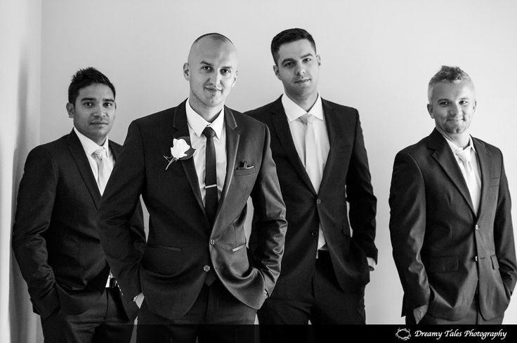 Wedding Photography- Groom and Groomsmen in wedding suits.