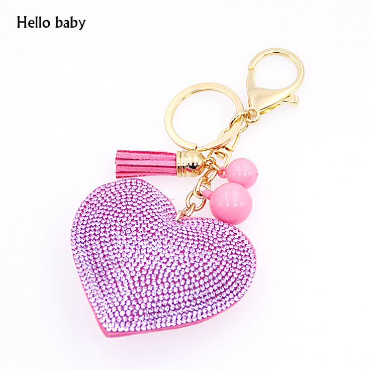 Rhinestone Inlaid Heart Fashion Key Ring or Hand Bag Charm //Price: $5.53 & FREE Shipping //     #hashtag1