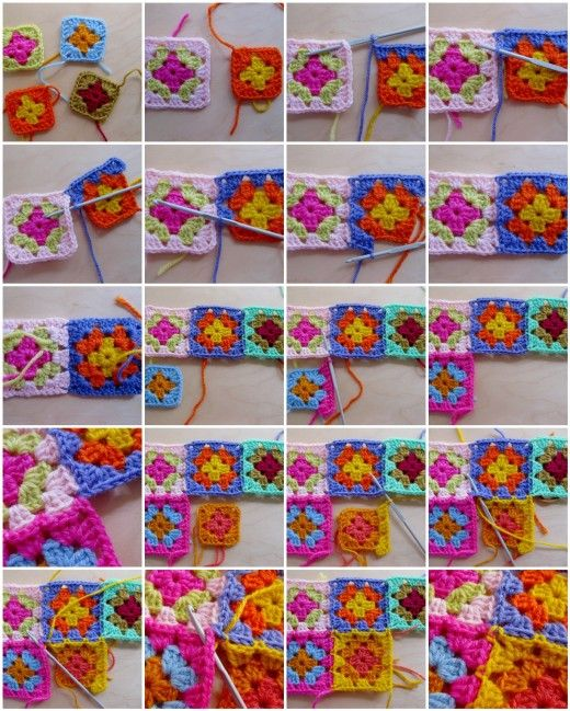Joining Crochet Granny Squares: Learn how to join granny squares as you go! -- I do this often, I usually create all of my granny squares (minus 1 round) in advance, then use an accent color to go around and join as i make the last round.