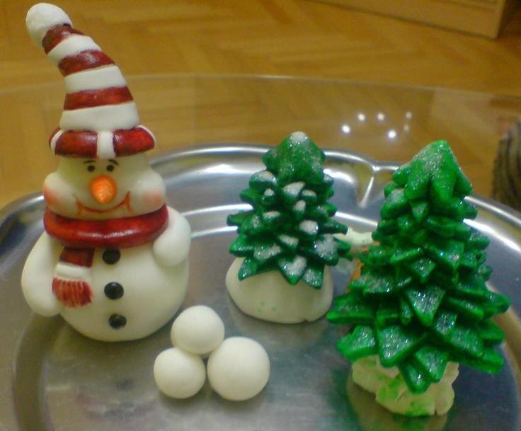 Snowman and Christmas tree...
