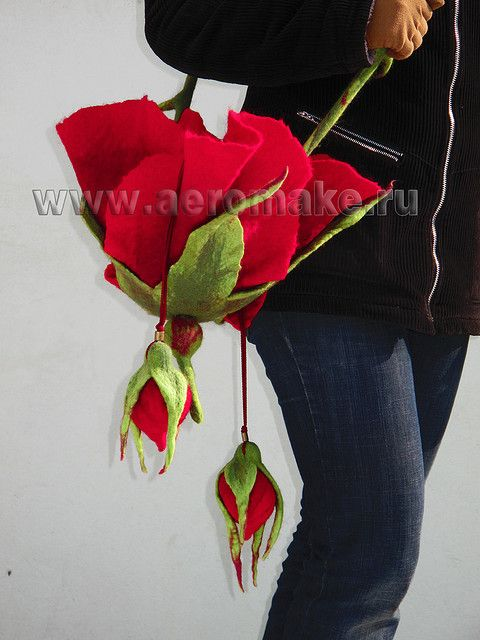 Rose and Buds Felted Shoulder Bag - lady winter