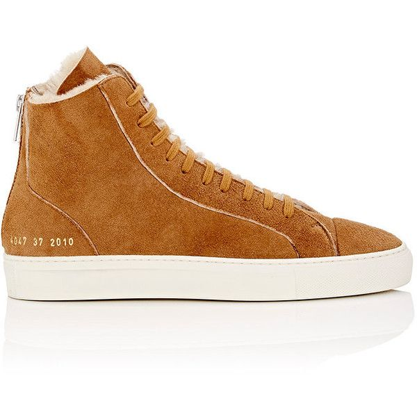 Common Projects Women's Tournament Shearling Sneakers (1,800 SAR) ❤ liked on Polyvore featuring shoes, sneakers, lace up shoes, common projects shoes, cap toe sneakers, lace up sneakers and metallic gold high top sneakers