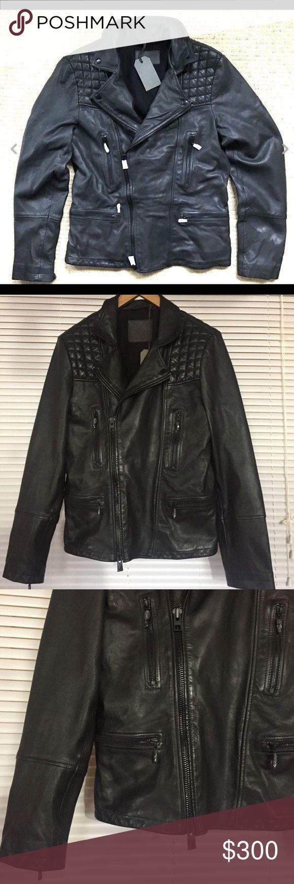 Allsaints Catch Black Leather Jacket M L For Sale is a
