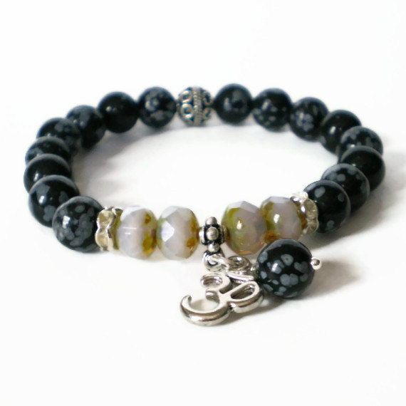 black stretch bracelet gemstone stacking bracelet by jcudesigns, £12.00