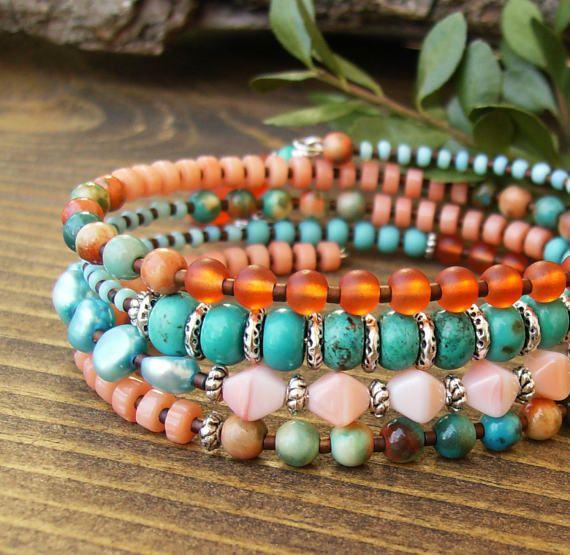 Colorful Summer Bracelet Turquoise Orange by BonArtsStudio on Etsy