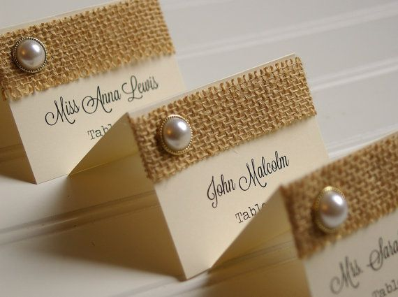 burlap rehearsal name cards | Burlap and Pearl Place Cards - Handmade Rustic Placecards in Ivory and ...
