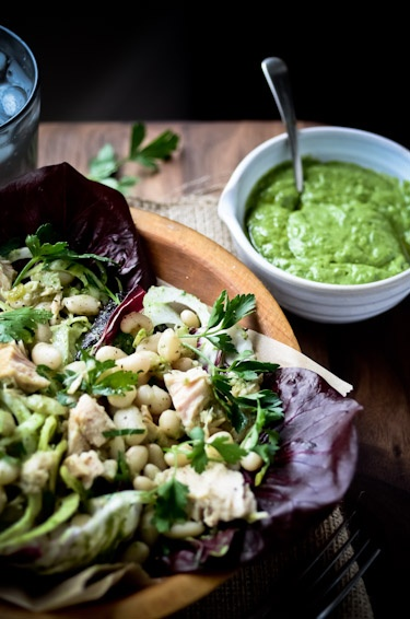 White bean and tuna salad with avocado parsley vinaigrette