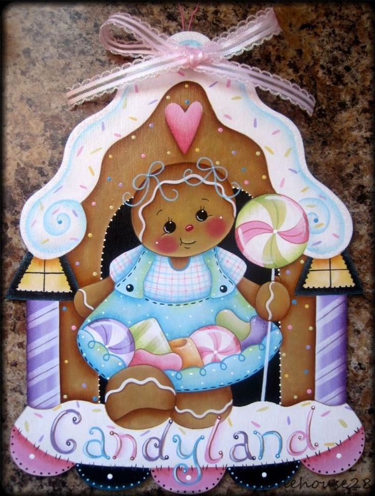 HP GINGERBREAD Candyland WALL HANGING in Handpainted Items | eBay
