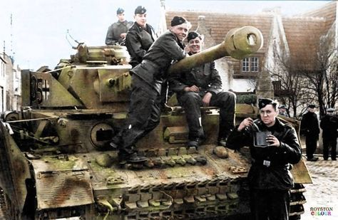 """Panzer IV Ausf. J, Nr. 635, II./SS.Pz.Rgt. 12 """"Hitlerjugend"""", Training in Belgium, 1943/44. Shortly before June 6th, 1944, the HJ SS Panzer Grenadier Division was moved from its training camp in Beverloo to the town of Hasselt, also in Belgium. This is where the HJ SS Panzer Division was held as a reserve unit to help check the anticipated Allied invasion. (Source - Bundesarchiv Bild 101I-297-1726-17) (Colourised by Royston Leonard from the UK), pin by Paolo Marzioli"""
