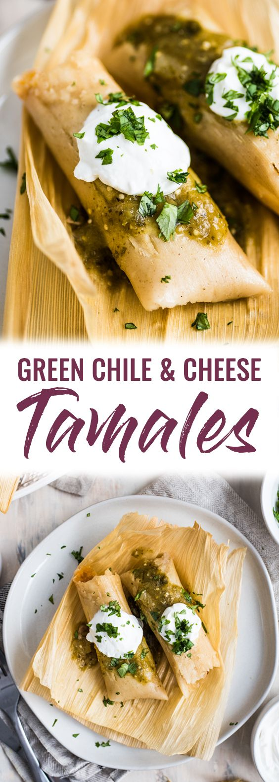 A Mexican classic, these Green Chile and Cheese Vegetarian Tamales are filled with roasted poblano peppers and spicy pepper jack cheese. Also gluten free! #tamales