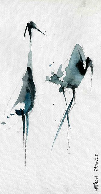 Beautiful and simple japanese ink painting stork baum