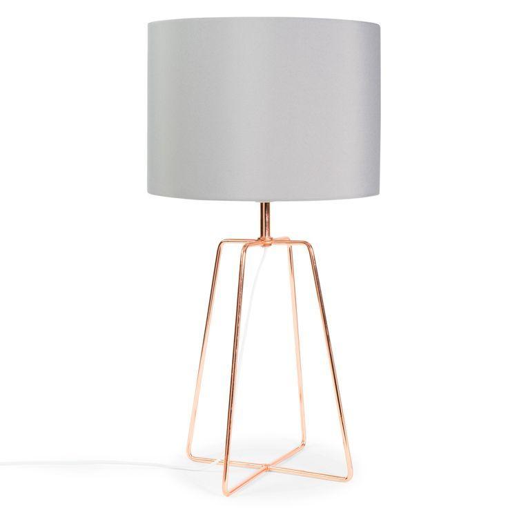 Lampe Crossy Copper Aus Metall Mit Lampenschirm Aus Grau Stoff H 49 Cm Kupferfarben Maisons Du Monde Www Maisonsdumonde Com Lampenschirm Aus Stoff