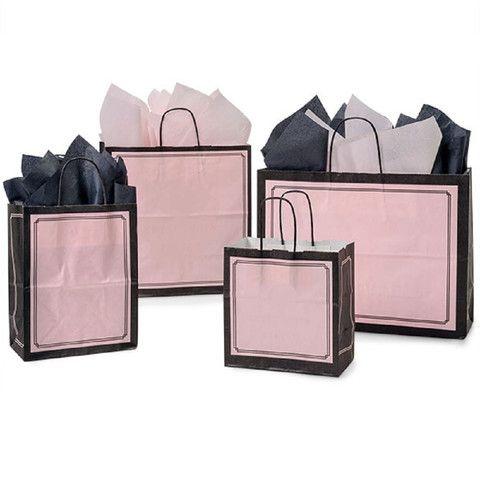 Paper Shopping Bags Pink & Black Duet - Matte Finish – B2BWraps.com