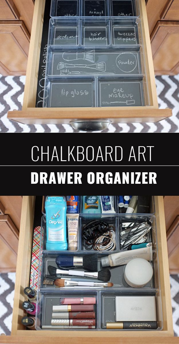 DIY Chalkboard Paint Ideas for Furniture Projects, Home Decor, Kitchen, Bedroom, Signs and Crafts for Teens. |  Chalkboard Art Drawer Organizer  |  http://diyjoy.com/diy-chalkboard-paint-ideas