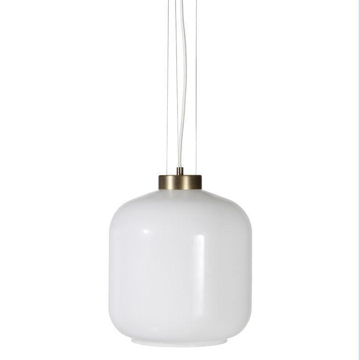 A L F R E D O Pendant. Designed by Venessa Eilert. White glass and brushed brass.   FrandsenLighting A/S.
