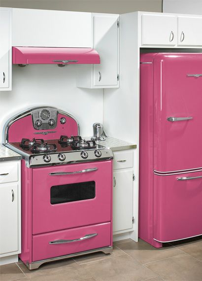Pink appliances for the colorful kitchen... Not sure the guys in my house would like this.