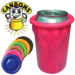 Can Condom Drink Cover Set  Are You Practicing Safe Sips?    Hilarious insulator rolls onto your can like, well, a giant condom. Keep your beverage cool and the topic of conversations HOT.    88329    Can Condom Drink Cover Set      $11.98