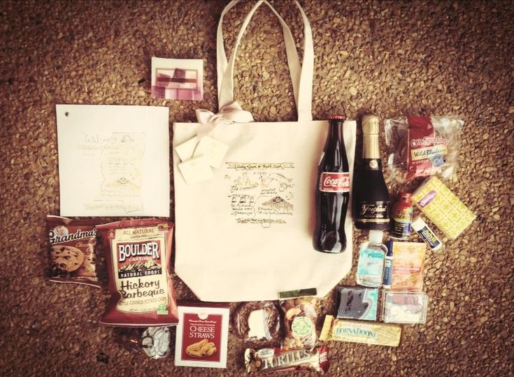 Welcome bags - leave in hotel rooms, pack in a reusable tote/bag. include a map of the area, some water and snacks, itinerary of wedding day