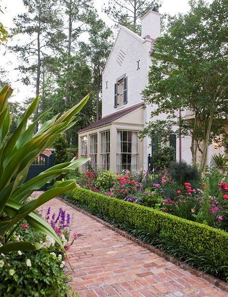 .: Boxwood Hedges, Brick Paths, Walkways Ideas, Landscape Architects, Window, Southern Gardens, Traditional Home, Brick Walkways, Flower