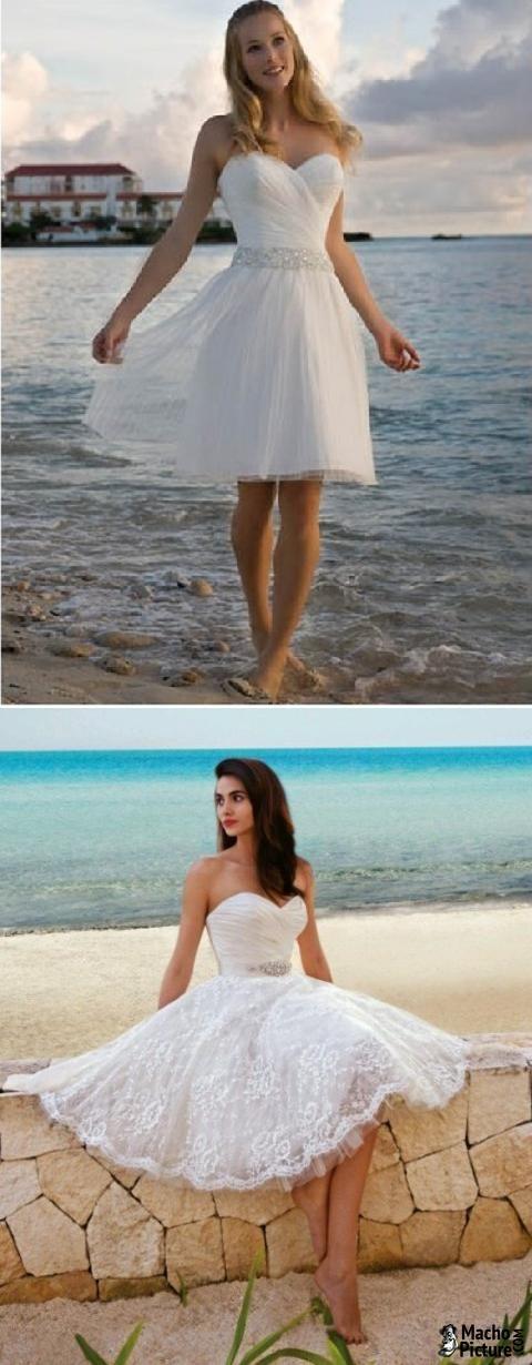 Short beach wedding dresses 2015 - 3 PHOTO!