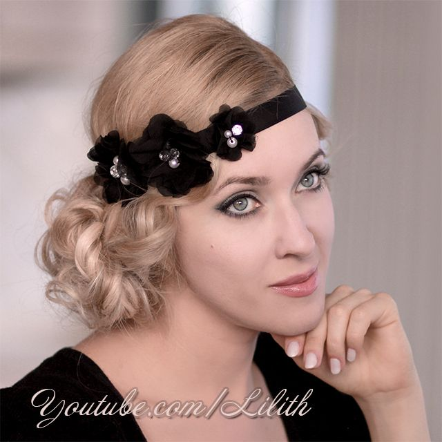 Glamorous curly updo hairstyle inspired by Great Gatsby