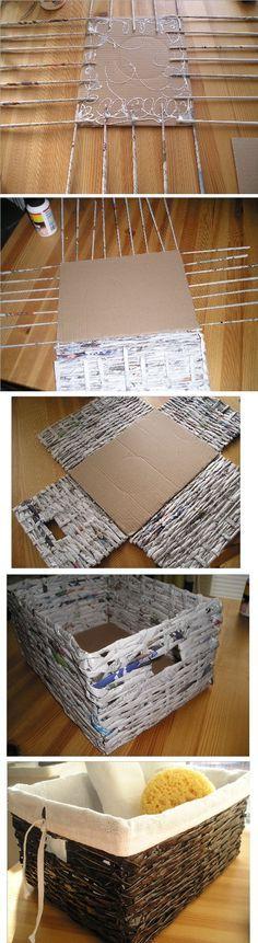 caja con base de carton y laterales con diarios y luego pintados simula mimbreENCONTRADA EN LA WEB