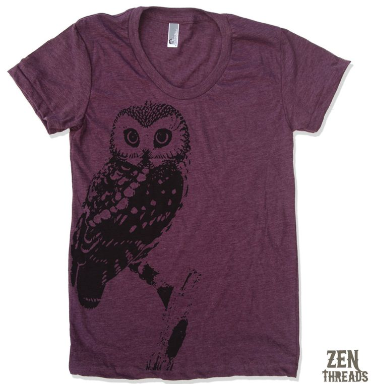 Womens OWL vintage soft american apparel T Shirt S M L XL (16 Colors Available). $18.00, via Etsy.