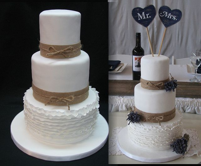 Burlap & Lavender wedding cake - Flickr - Photo Sharing! www.fancythatcake.ca