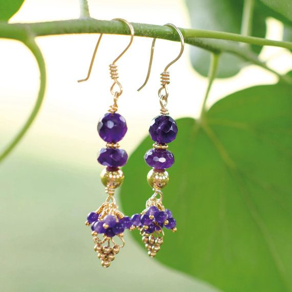 Unique Gold Plated Amethyst Earrings Free Shipping by Jeva Jewels