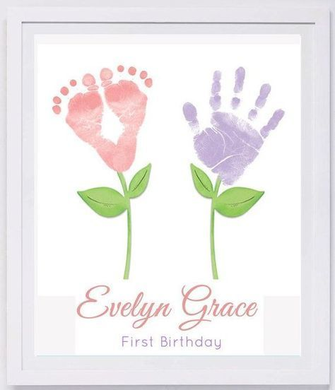Baby Footprint Art, Forever Prints hand and footprint keepsake for kids or baby. Mother's Day, New Mom, Nursery Art Baby In loving memory