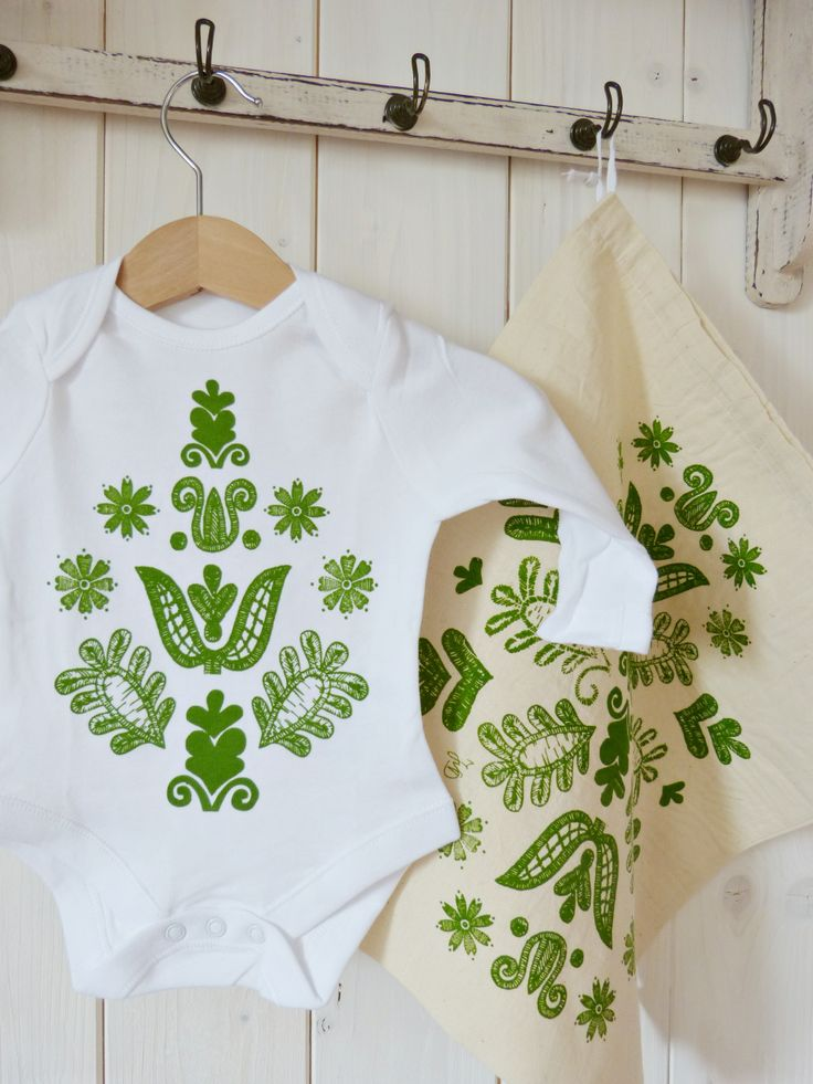 Unisex Baby Body.....screen printed. Designs are inspired by Hungarian folk art...specially from the region Kalotaszeg. Handmade by Judit Vigvári ( Folk Affair)