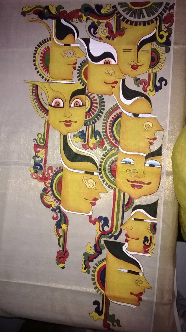 """Nava Rasam"" (depiction of the 9 Emotions): A modern twist to the age Old Mural art.  Sari designed by NImmy's Creations"