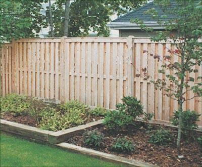 """Shadowbox - The ventilation spacing makes this ideal for privacy as well as neighborliness. Identical front and back. Available from 4' to 8' high with 4"""" wide slats, flat cap and 4"""" facias. End cleat installation."""