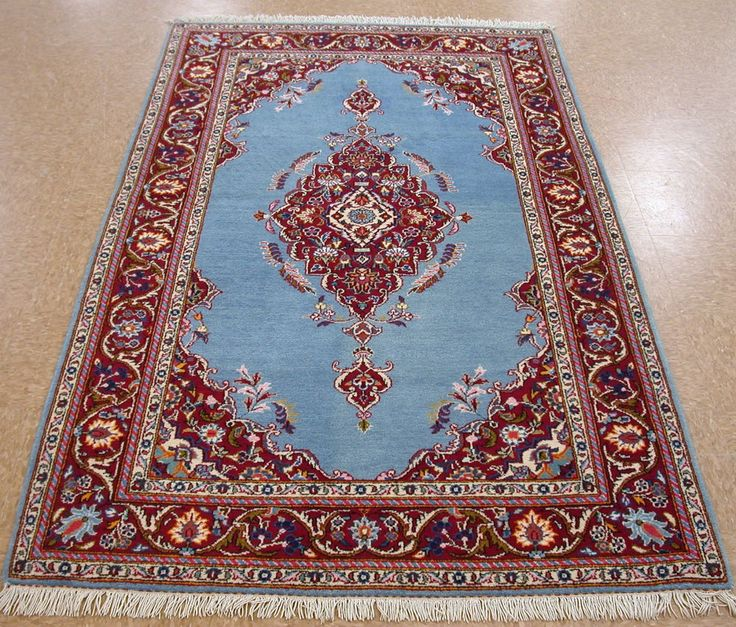 4 5 X 7 Persian Kashan Hand Knotted Wool Royal Blue Red Oriental Rug Carpet
