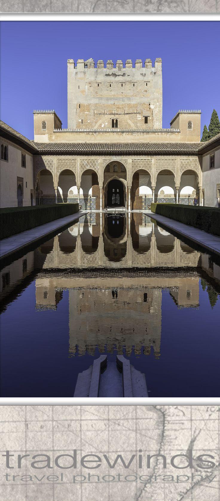 pool in alhambra castle, granada, spain