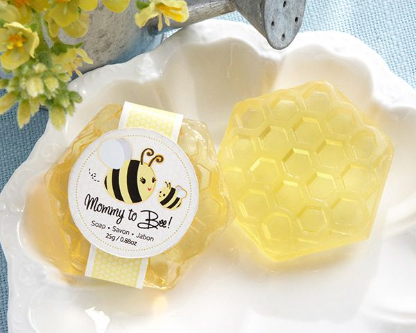"Your guests will be buzzing when they receive our adorable ""Mommy To Bee"" Honey-Scented Honeycomb Soap Baby Shower Favors. These sweet little baby shower favors are sure to ""bee"" a hit! For such a sweet celebration, why not give a sweet favor to remind your guests of the special day they shared with you"