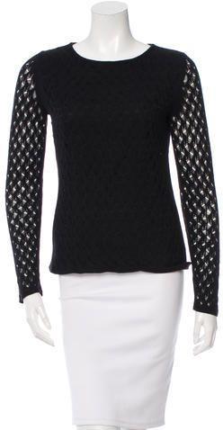 Diane von Furstenberg Open Knit Long Sleeve Top