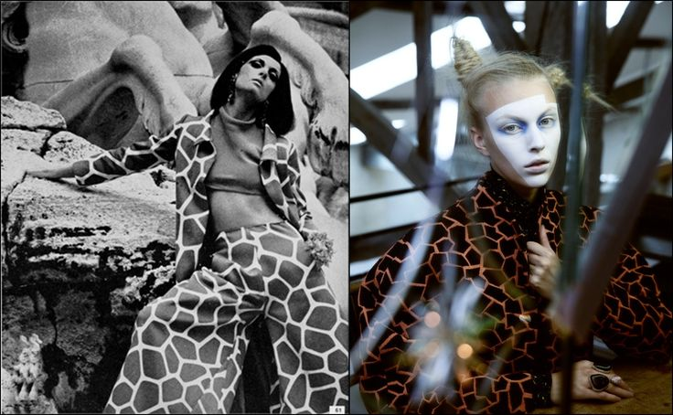 Слева: Vogue. Италия. 1966 г. Костюм от Valentino. Справа: Dansk Magazine. Осень-зима 2014 г. Модель: Джулиана Шуриг (Juliana Schurig). Фотограф: Бенджамин Внук (Benjamin Vnuk). #Valentino #fashion #fashioninspiration #style #60s #1960s #SperanzaFirsace