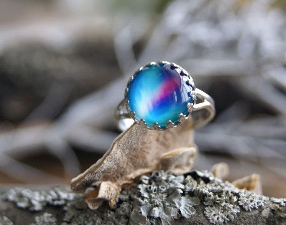 Nothern lights glass dome crown statement ring by InviolaJewerly