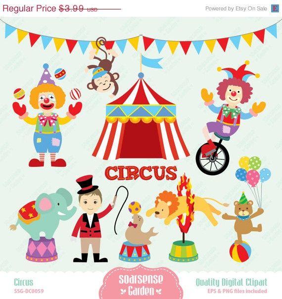 40% OFF SALE Circus Digital Clipart, Carnival Clip Art, Animal Circus Clip Art