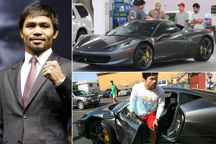 Manny Pacquiao – Ferrari 458 Italia, Estimated $270K Manny Pacquiao is a Filipino professional boxer and the current Senator of the Philippines. Enjoying his boxing earnings, Pac-Man owns a Porsche Cayenne Turbo, Mercedes SLK, Lincoln Navigator, Mitsubishi Pajero V6 and a Ferrari 458 Italia. Pacquiao is also a known philanthropist and donates often to various causes in his homeRead More