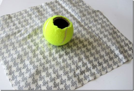 DIY curtain rod finials out of a tennis ball
