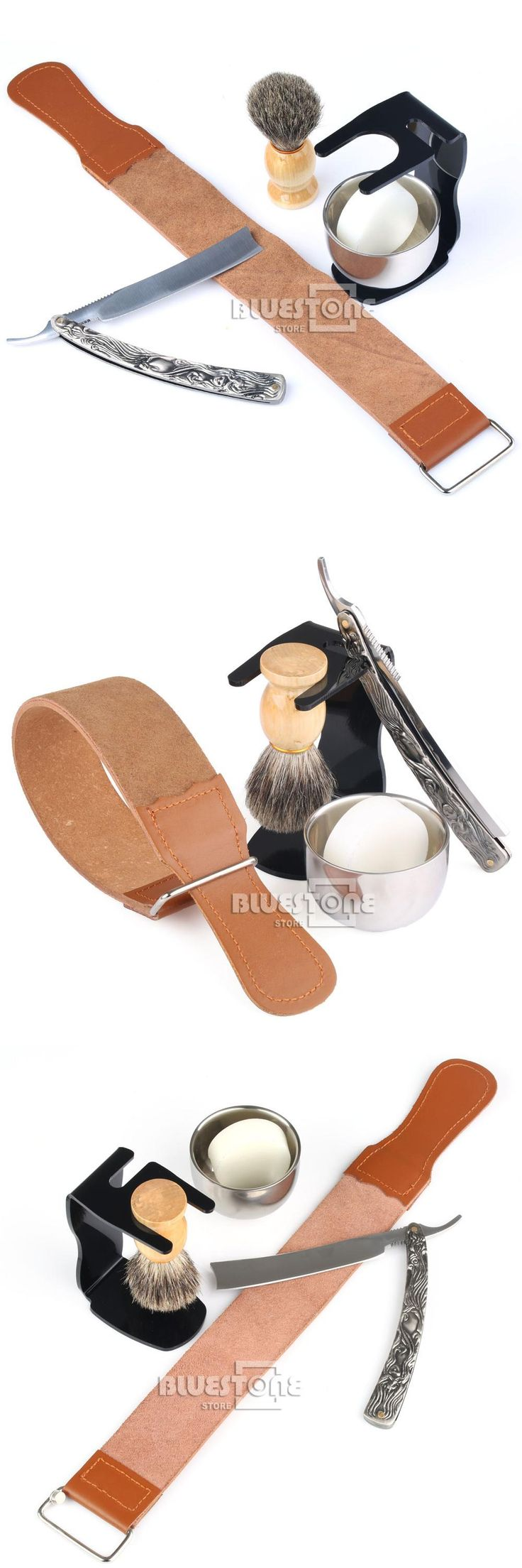 [Visit to Buy] 6 in 1 Men's Barber Shaving Set Straight Razor + Leather Strap + Brush + Black Stand + Bowl + Soap Free Shipping #Advertisement