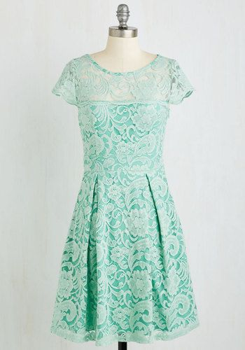 Cream and Sugar Cookie Dress in Buttermint - Mid-length, Knit, Lace, Mint, Solid, Wedding, Daytime Party, Graduation, Bridesmaid, Pastel, A-line, Short Sleeves, Spring, Better, Variation, Scallops