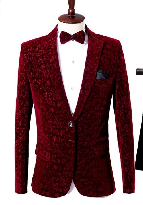 Free ship mens wine red european flower pattern suit tuxedo jacket stage  performance stuido jacket with bowtie f263a98ce696
