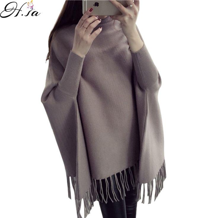 Ч,С. 2016 Осень Зима batwing свитера женщины водолазка пончо кисточкой пуловер и свитер Джемпер свободные негабаритных кожа