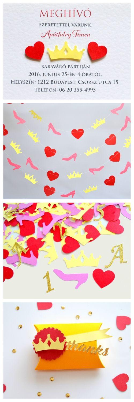 Hamupipőke meghívó keresztelő babazsúr születésnapi parti dekoráció asztalidísz konfetti girland díszdoboz lány kislány piros rózsaszín korona cipő szív - meska.hu