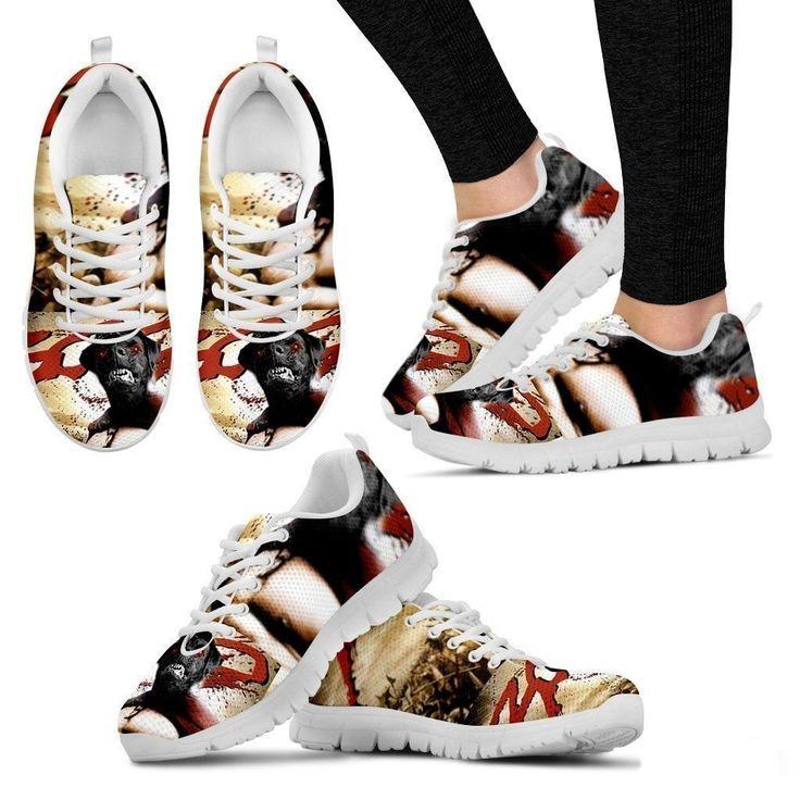 300 Movie Style Black Labrador Running Sneakers (Women)